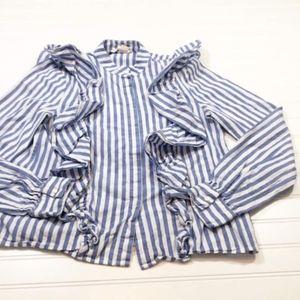 H & M Womens size 8 Blouse Button Down Blue White